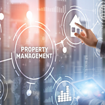 property management words with male hand pointing to digital screen